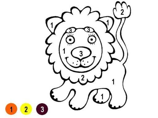 Hình tô màu con sư tử theo số