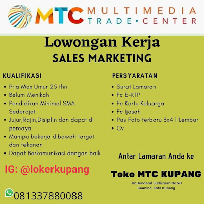 Lowongan Kerja MTC Kupang Sebagai Sales Marketing