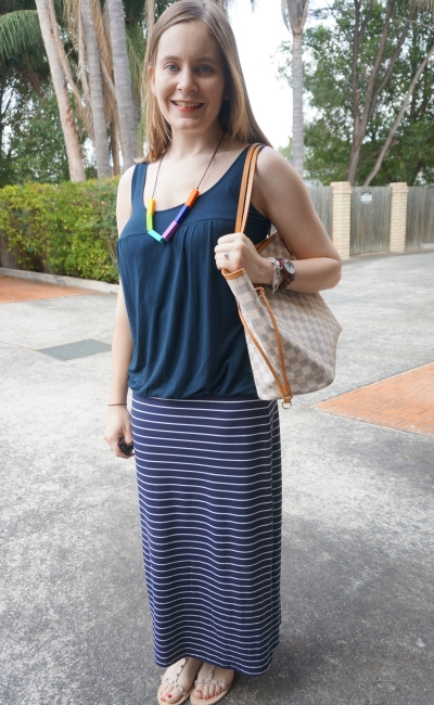 monochrome navy spring breastfeeding friendly maxi skirt outfit Louis Vuitton Neverfull | AwayFromBlue