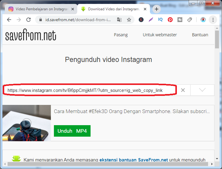 Cara Download Video IG 2