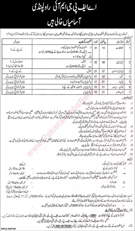 New Jobs in Pakistan AFPGMI Rawalpindi Jobs 2021