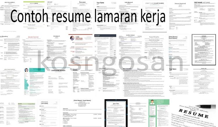 Contoh Resume Lamaran Kerja yang Baik dan Benar