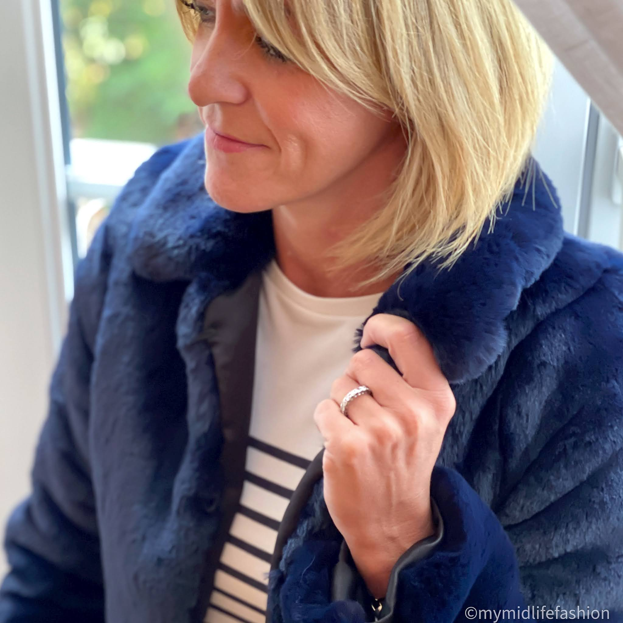 my midlife fashion, Helen Moore collar jacket in blue cloud