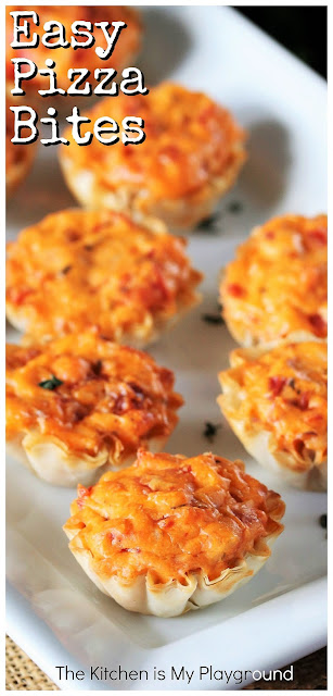 SUPER Easy Pizza Bites ~ Frozen phyllo shells & an easy cheesy filling make quick work of these tasty little pizza bites!  Easy Pizza Bites are a fun meal starter, perfect game day nibble, or easy snack and party time treat. #pizzabites #gamedayfood #partyfood  www.thekitchenismyplayground.com