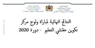 النتائج النهائية لمباراة ولوج مركز تكوين مفتشي التعليم  - دورة 2020