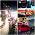 Foram registrados dois acidentes na rotatória da entrada de Rosário durante a noite de domingo