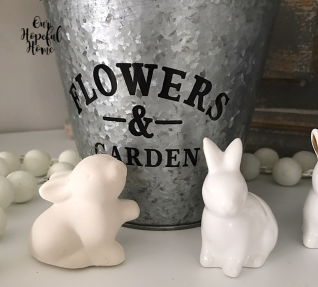 porcelain white rabbits figurines