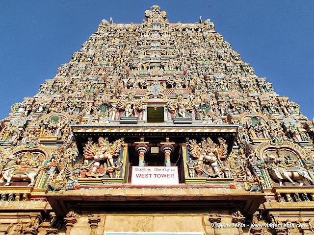 Gopuram Oeste no Templo Meenakshi, em Madurai