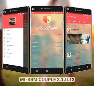 Mi-BBM MOD Couple v3.1.0.13 APK (BBM MOD New Style Full Features) Update Terbaru 2016 Gratis