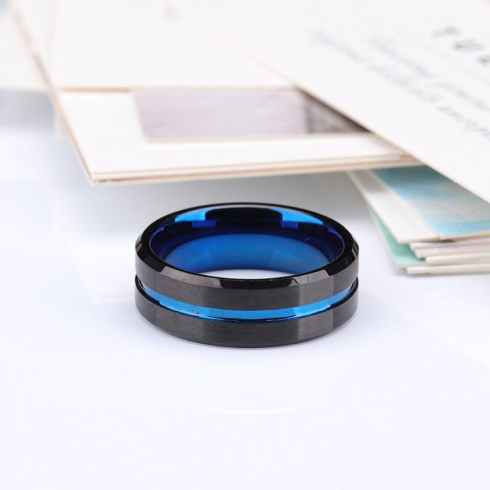 Black tungsten band with blue grooved center
