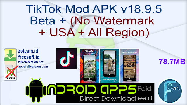 TikTok Mod APK v18.9.5 Beta + (No Watermark + USA + All Region)