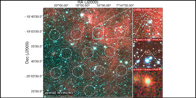 This image shows the field of view of the Parkes radio telescope on the left. On the right are successive zoom-ins in on the area where the signal came from (cyan circular region). The image at the bottom right shows the Subaru Telescope's image of the FRB galaxy, with the superimposed elliptical regions showing the location of the fading 6-day afterglow seen with ATCA. Image Credit: D. Kaplan (UWM), E. F. Keane (SKAO).