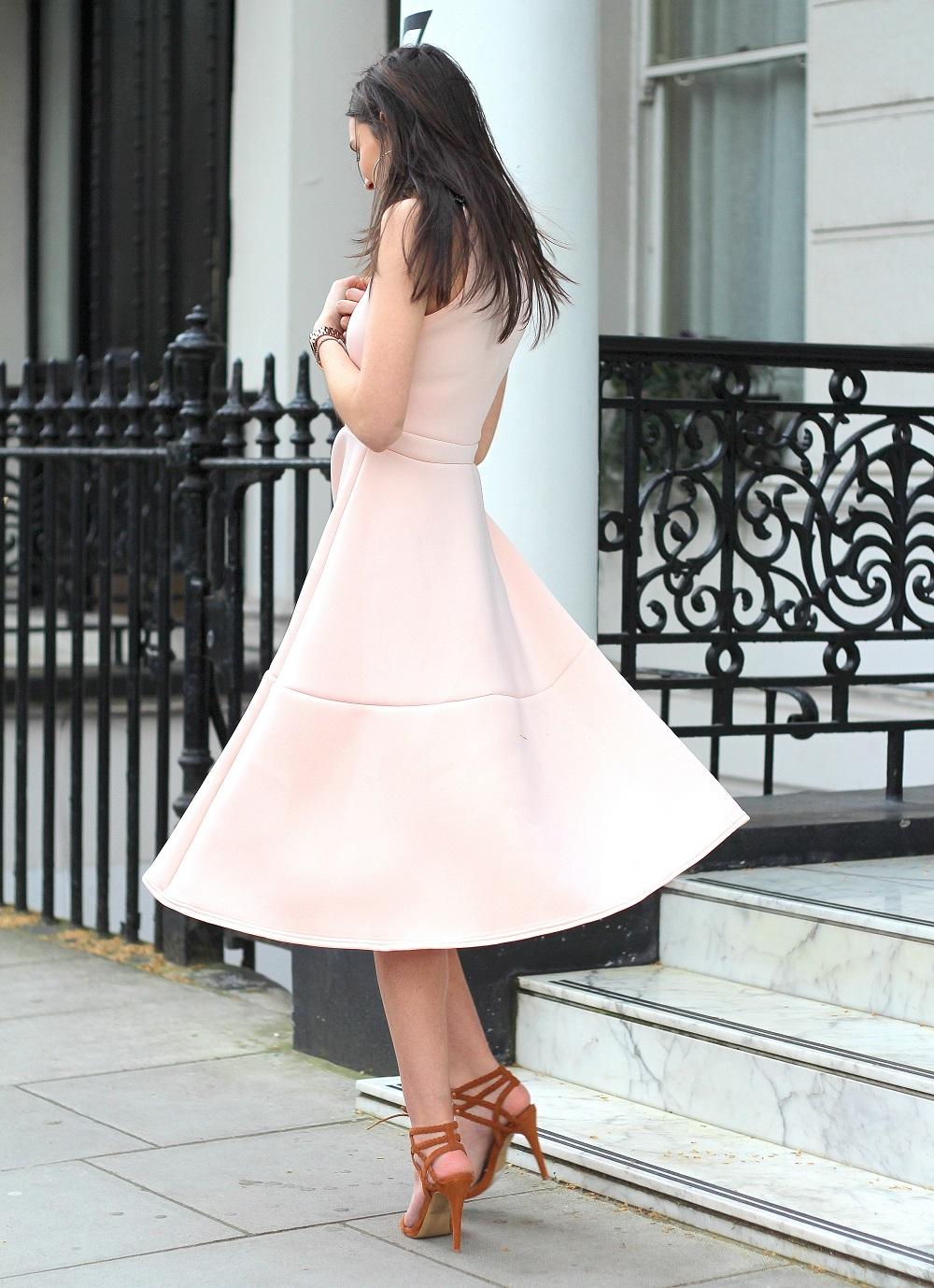 blush midi dress boohoo prom style