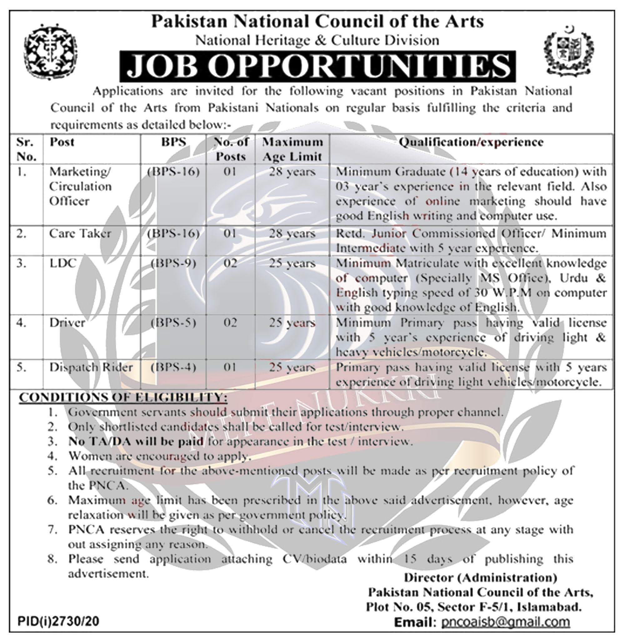 Latest Govt Jobs 2020 in Pakistan National Council of the Arts