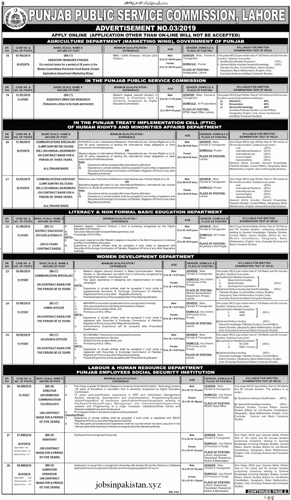 PPSC Advertisement 03/2019 Page No. 1/2