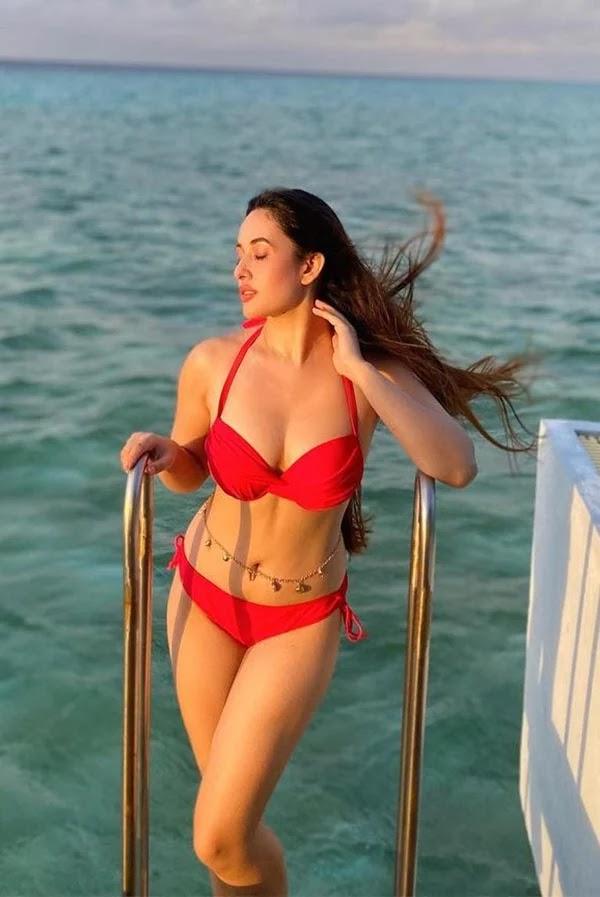Aditi Budhathoki shows off her sexy body in a red bikini