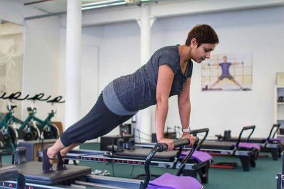 Over 40s fitness fanatic Perveen Akhtar in the reformer pilates studio