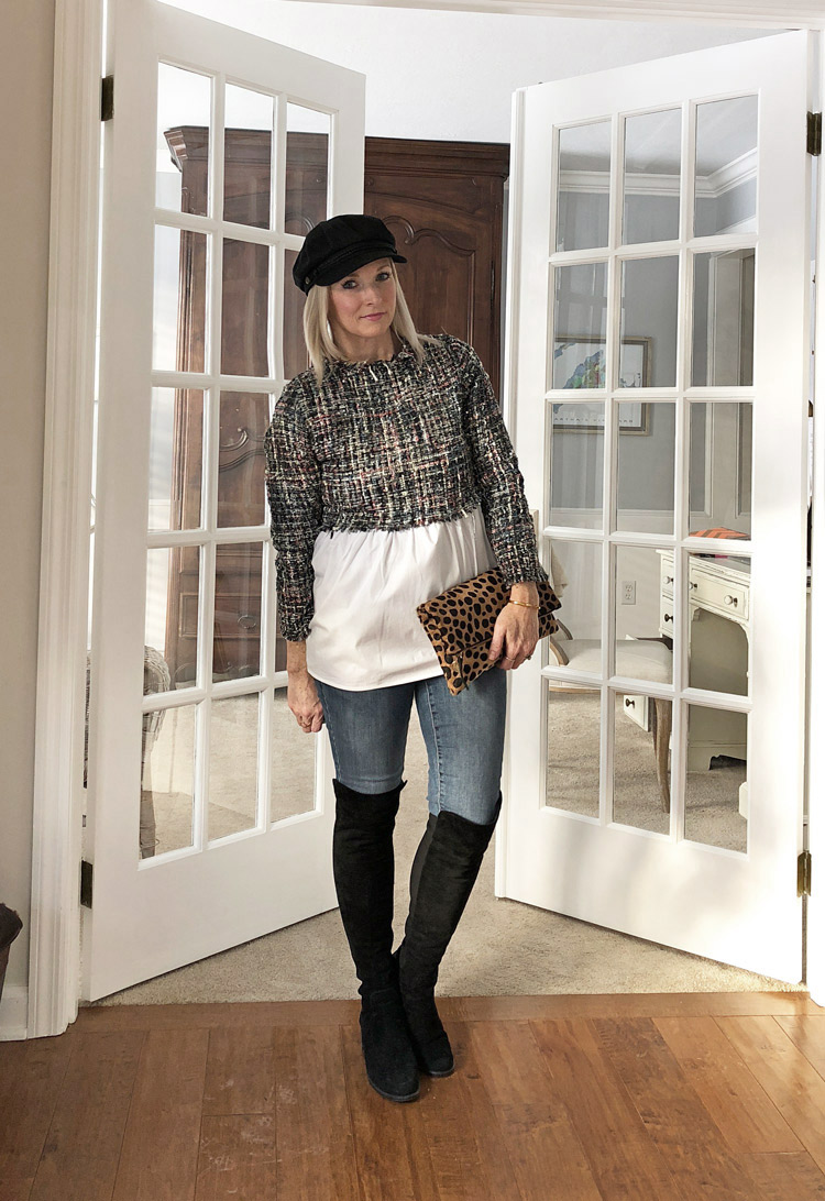 tweed babydoll top with skinny jeans and over the knee boots