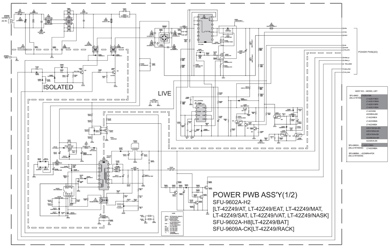 Schematic Diagrams: LT42Z49 JVC LCD TV SMPS schematic