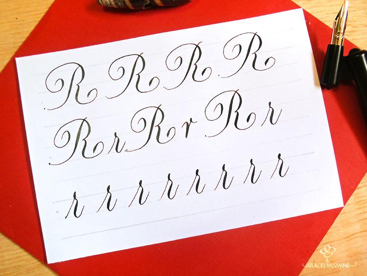 caligrafia copperplate letra R abecedario aprender escribir