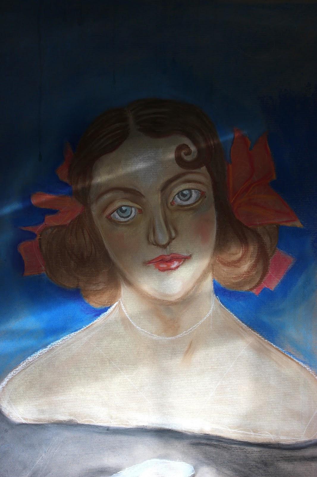 Pastel Brown Paper Sketch Womans Face