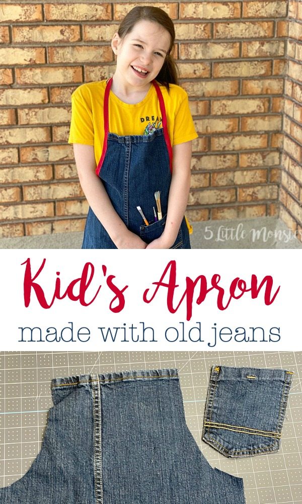 kids apron from old jeans