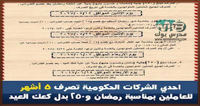 احدي الشركات الحكومية تصرف 5 أشهر للعاملين بمناسبة رمضان و250 بدل كعك العيد