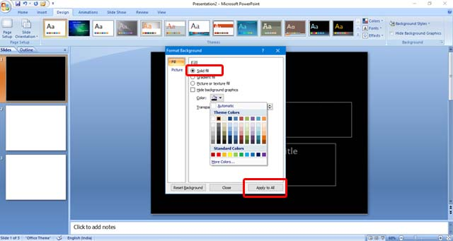 How to add Background Color in PowerPoint
