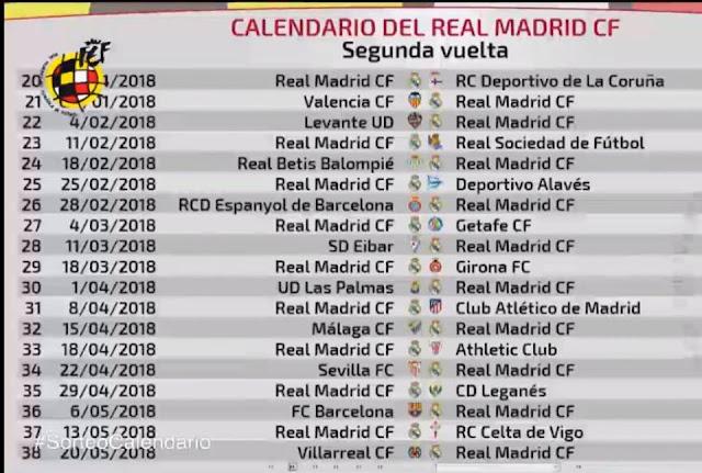 جدول مباريات نادي ريال مدريد لموسم 2020/2019