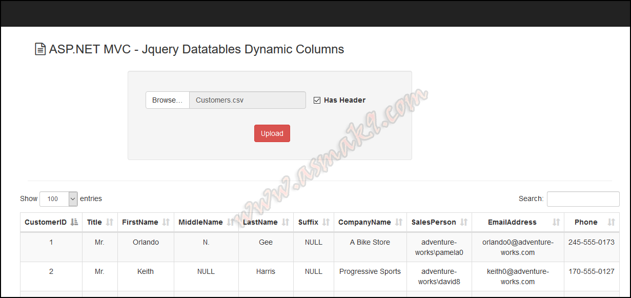 ASP NET: Jquery Datatables Plugin with Dynamic Numbers of