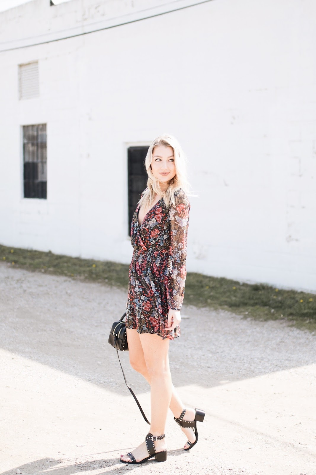 Re:named dark floral dress, Steve Madden studded block heel sandals