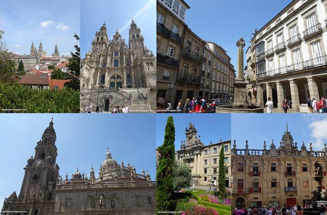 Viaje a Galicia: Vistas de la catedral desde la Alameda y la plaza del Obradoiro, Plaza de Cervantes, Catedral desde Plaza da Quintana, Monasterio de San Martiño Pinario y Plaza de la Platería