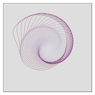 Processing で作った、複数の閉曲線によるアートの例