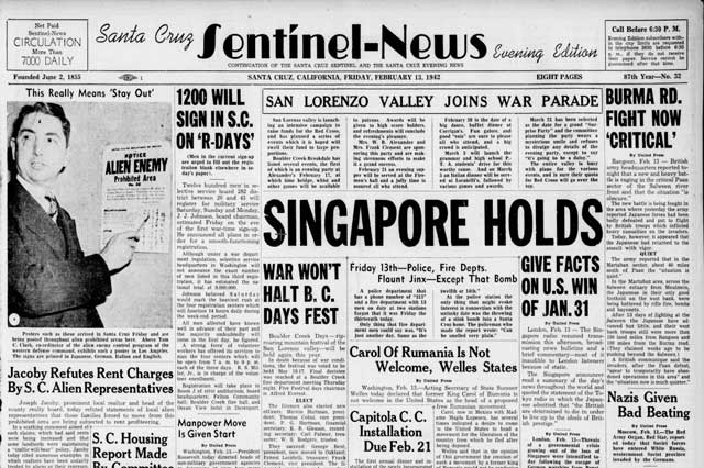 Santa Cruz Sentinel-News, 13 February 1942 worldwartwo.filminspector.com