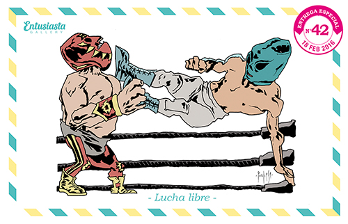 Caricature of two masked fighters on the ring. Colored and inked in a powerful way.