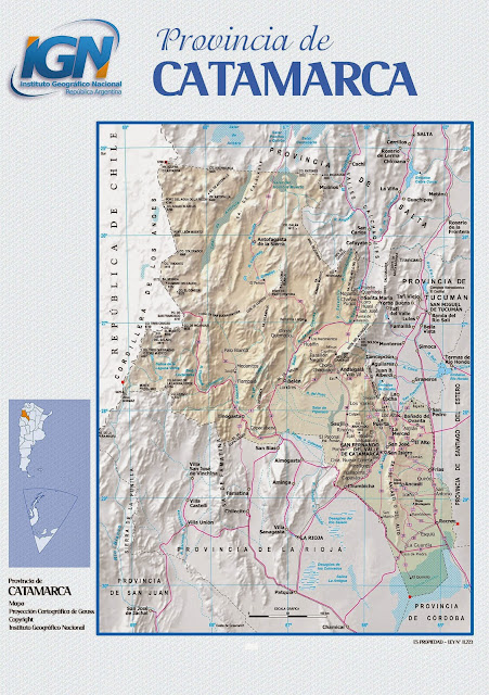 Mapa da provincia de Catamarca - Argentina