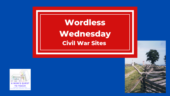 Wordless Wednesday: Civil War Sites; A Mom's Quest to Teach logo; photograph of lane at Antietam