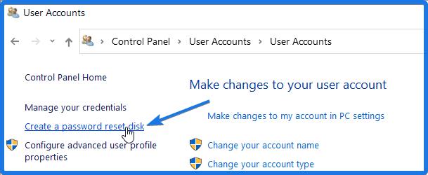 Create a password reset disk