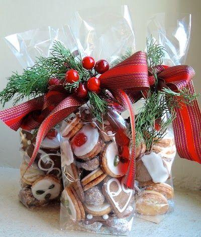 Cookies no saquinho de celofane, decorados para Natal