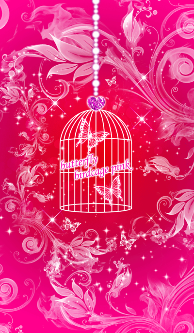butterfly birdcage pink
