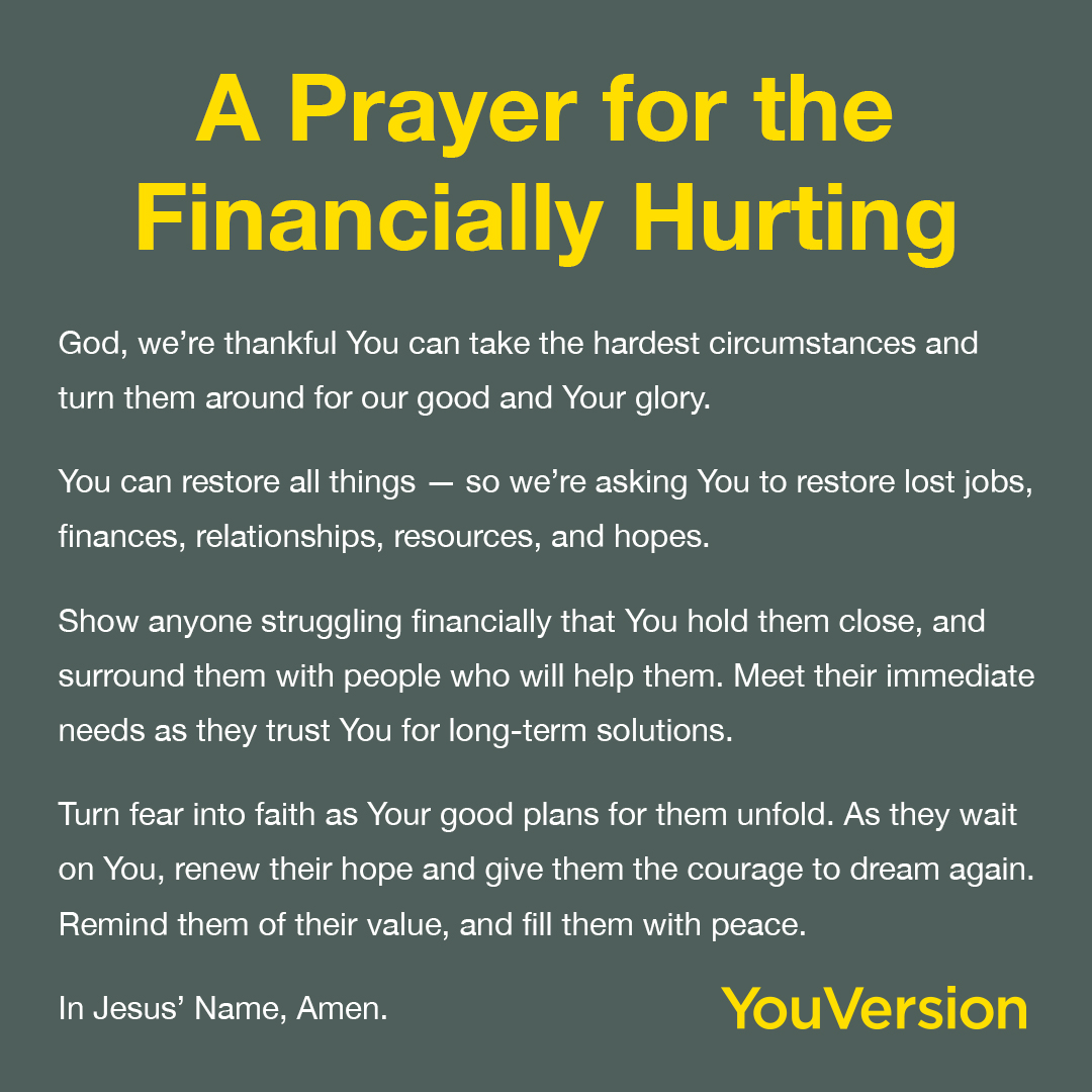 A prayer for the financially hurting