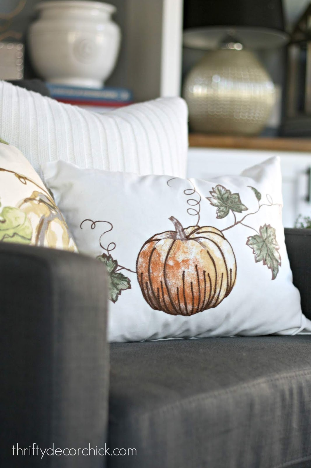 Fall DIY pillows using table linens
