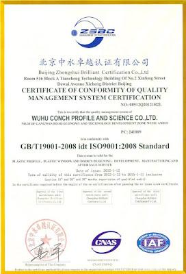 Sertifikasi resmi global internasional UPVC Conch
