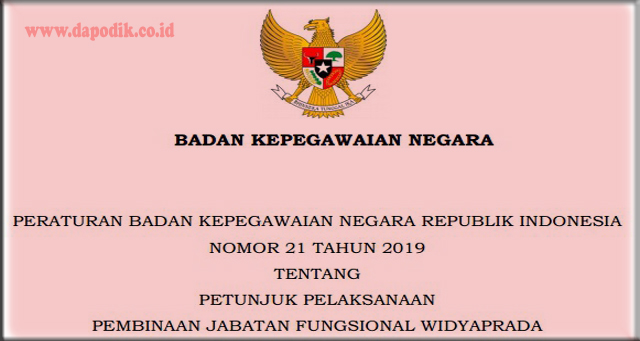 PERATURAN BADAN KEPEGAWAIAN NEGARA REPUBLIK INDONESIA NOMOR 21 TAHUN 2019 TENTANG PETUNJUK PELAKSANAAN PEMBINAAN JABATAN FUNGSIONAL WIDYAPRADA (PERATURAN BKN NO. 21 TAHUN 2019 JF  WIDYAPRADA)