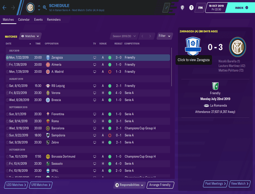 FM20 Inter Tactic results
