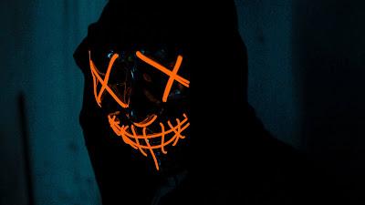 Hoodie Wallpaper, Man, Neon Mask, Dark Free