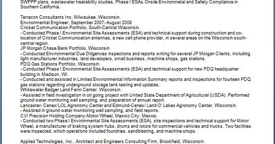 environmental engineer sample resume format in word free