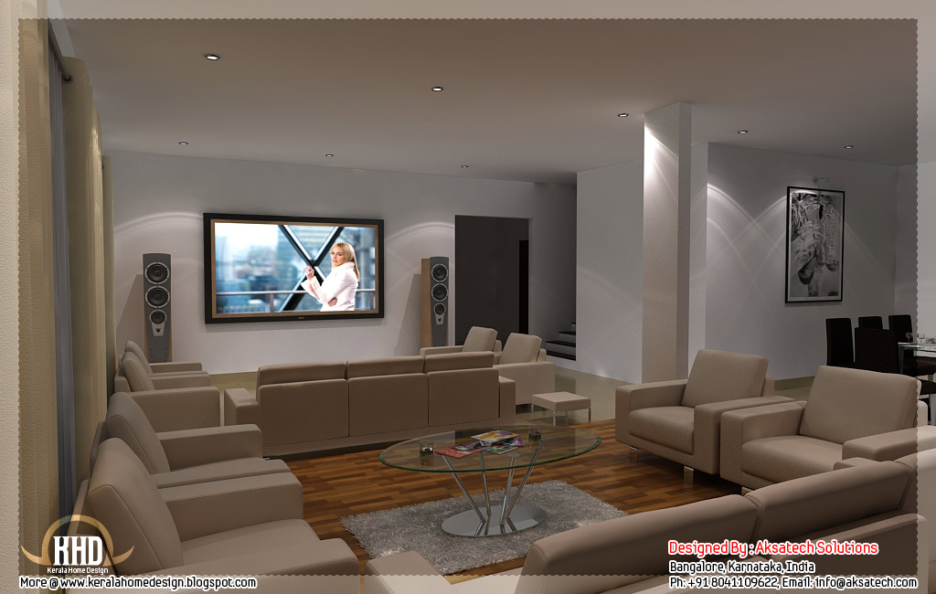 Mix collection of 3d home elevations and interiors for Simple indian home interior design photos