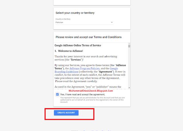 Click Create Account Button