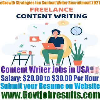 eGrowth Strategies Inc Content Writer Recruitment 2021-22